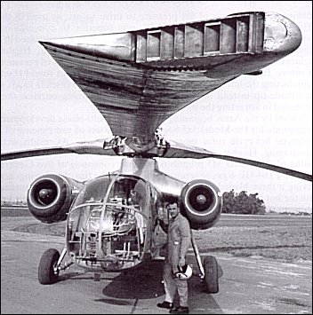 Test pilot Robert G. Ferry in front of the XV-9 at the Hughes Airfield in Culver City