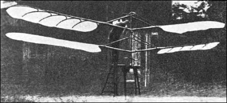 An original photograph of Tanski's full-size helicopter with a hand-operated mechanism. The machine is seen here soon after completion, in the courtyard of 2 Mazowiecka Street, Warsaw