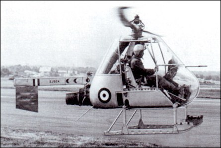 The prototype Ultra-light Helicopter, in its original form and with the serial XJ924, being demonstrated at the SBAC Show, Farnborough, in 1955, three weeks after its initial flight